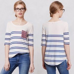 Anthropologie Striped Floral Pocket Tee Blue XS